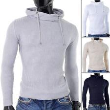 Mens Thin Knit Hoodie drawstring Long Sleeve Striped Ribbed Slim Fit Cotton