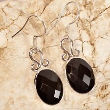 """.925 Silver Faceted BLACK ONYX Gemstone EARRINGS 1 1/2"""" (39mm)~ Up to 6.2g/.22oz"""