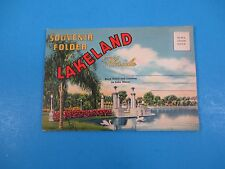Vintage Souvenir Postcard Folder Lakeland Florida Band Stand Lake Mirror S3064