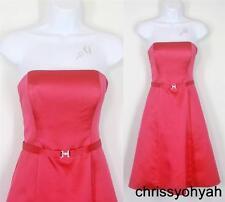 VTG 80s Michaelangelo Pink Strapless Bling Broach Formal Party Bridesmaid Dress