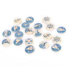 Bottoni tondi in legno naturale 10Xs Accessori da cucire design nautico blu