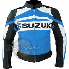 SUZUKI GSX Cowhide Biker Racing Sky Blue Real Leather Jacket for motorcyclist