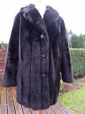 Vintage  faux fur coat Astrak Jacket Very dark Brown Size 12 / 14 1950's 60s