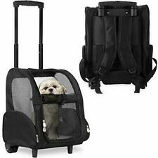 Deluxe Backpack Pet Travel Carrier with Double Wheels Up to 10 lbs (Open Box)