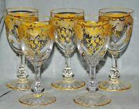 5 Sherrygläser Südweingläser Saint-Louis,Massenet Or, Kristall, Golddekor, 12 cm