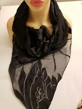 "Lana Fuchs Couture Black & White Large Floral Patterned Triangle Scarf 75"" X 43"""