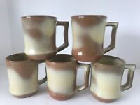 Vintage Frankoma C5 Desert Gold Coffee Cups Mugs 7oz. Set Of 5 Excellent Cond.