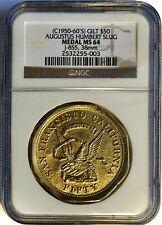 (c50-60's) Gilt PLATED, GOLD/BRASS $50 Augustus Humbert Slug Token / Medal  NGC