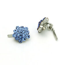 Hand Made Hair Jewelry swarovski crystal Cluster Magnet Barrette Set Of 2 Blue