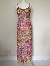 ASOS Chiffon Floral Full Length Long Maxi Adjustable Strap Tea Dress Summer UK 8