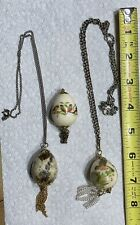 Lot of 3 Vintage Quail Egg Pendants 2 With Chains 2 With Bird Decals 1 Natural