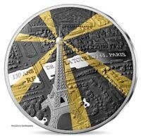 FRANCIA FRANCE 10 EURO SILVER PROOF 130 YEAR EIFFEL TOWER BIRTHDAY w GOLD INSERT