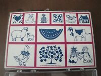 Inkadinkado COUNTRY STAMP SET 10 Stamps Cow, Goose, Bear, House, Apple Tree