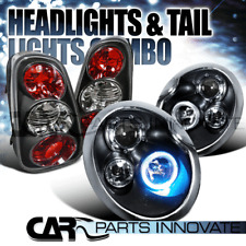 02-04 Mini Cooper Black Halo Projector Headlights+Rear Tail Lights Brake Lamps