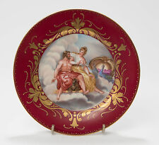 Antique Vienna Porcelain Plate with Greek Gods & Birds and Beehive Mark