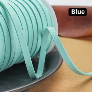 25yds Faux Leather Suede Cord Lace Flat Strap Thread Bead String DIY 5mm
