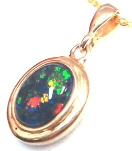 Australia Opal Natural Black Triplet Opal Pendant 5.305cts With Solid Silver Set
