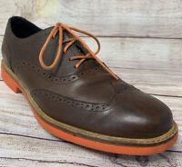 Cole Haan Mens Size 10 M Great Jones Wing Tip Shoes Brown Leather Orange Soles