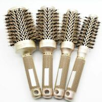 Hair Round Brush Ionic Boar Bristle Salon Comb Barrel Blow Styling Tools 4 Sizes