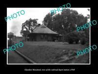 OLD LARGE HISTORIC PHOTO OF GLYNDON MARYLAND, THE RAILROAD DEPOT STATION c1940