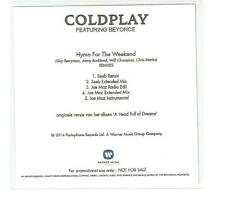 COLDPLAY FT BEYONCE 'HYMN FOR THE WEEKEND' RARE DUTCH FIVE REMIX CD PROMO