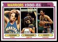 1981-82 TOPPS BASKETBALL LLOYD FREE , LARRY SMITH , JOHN LUCAS GOLDEN STATE