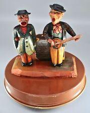 Antique Black Forest or ANRI Italy? Wooden Figural Men Bar Set Music Hand Carved