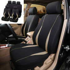 9X Front Rear Full Set Car Protect Seat Cover Black+Beige Breathable Universal