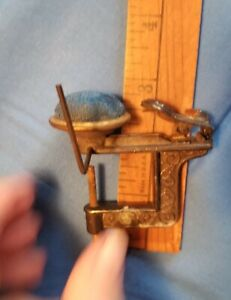 ANTIQUE RARE Style Sewing Bird Pincushion Clamp with Thread Arm. Unique Design