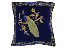 Navy Blue Peacock Dabka Work Embroidered Pillow Cover Couch Sofa Throw Cushion