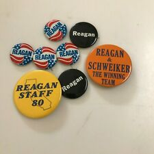 8 Reagan Campaign Buttons/Pins 1976 And 1980 Campaigns