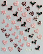 Nail Art 3D Decal Stickers Pink & Black Hearts Flowers Valentine's Day PC125