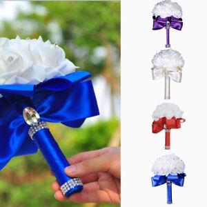 Romantic Crystal Artificial Rose Flower Bouquet Wedding Bride Bridesmaid Decor