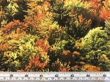 Fabri-Quilt - 'Fall's Tapestry' Trees Metallic Fabric - 100% Cotton