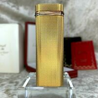 Vintage Authentic Cartier Lighter Trinity Gold Checkered Body w/Case&Papers