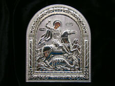 Religious Saint Silver Plated Metal Standing Plaque with Holy St.George