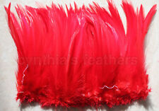 "100+ (7.0g, 1/4Oz) Bright Red 5-7"" Hackle Rooster COQUE Feathers for crafting"