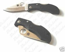 Spyderco Ladybug Black Handle Plain Edge Knife LBKP3