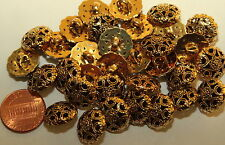 "Lot of 12 Gold Tone Plastic Domed Pierced Buttons 9/16"" 15mm # 4992"