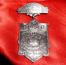 Antique 1889 ODD FELLOWS Rare ORNATE Silver BANNER JEWEL! Masonic Templar style!