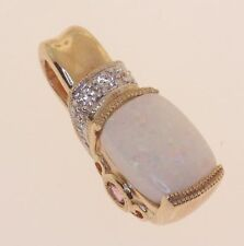 14k yellow gold ladies diamond opal pink topaz pendant charm vintage womens