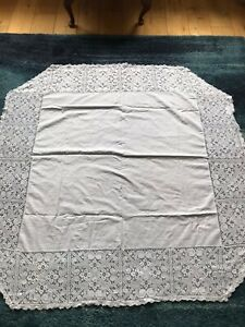 """White Lacy Table Cloth 50x 50"""""""