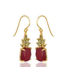 Natural Peridot, Ruby Gemstone Womens 925 Silver Dangle Earrings Jewelry
