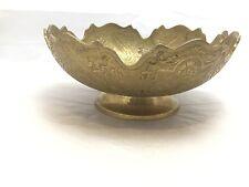 1930's Old Brass Unique Shape Floral Engraved Handcrafted Fruit / Dry Fruit Bowl