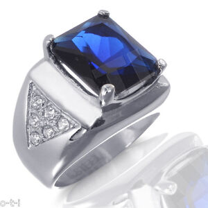 Large Emerald Cut 16.24ct Blue Sapphire White CZ Stainless Steel 316L Ring