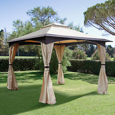 Outsunny 10' x 10' Steel Fabric Outdoor Patio Gazebo Vented Roof w/Mesh Sidewall