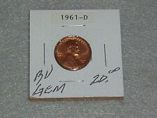 "1961 D LINCOLN MEMORIAL PENNY BU ""GEM"" CONDITION"