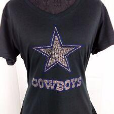 Women's Dallas Cowboys Rhinestone Football V-neck T-Shirt Tee Bling Ladies