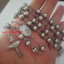 Men's Large Stainless steel Jesus Cross Rosary Necklace Bead Chain 8MM 30''+5''