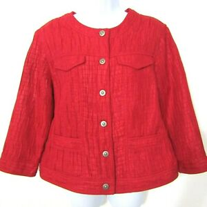 Ruby Rd Jacket Blazer Top Size 14 Solid Red Button front Crinkle 3/4 Sleeve
